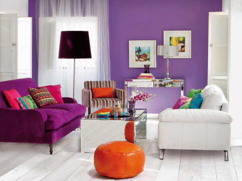 Decora con color morado y naranja interiores estilo - Decoracion de salones colores ...